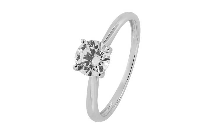 Revere 9ct White Gold Cubic Zirconia Solitaire Ring - H