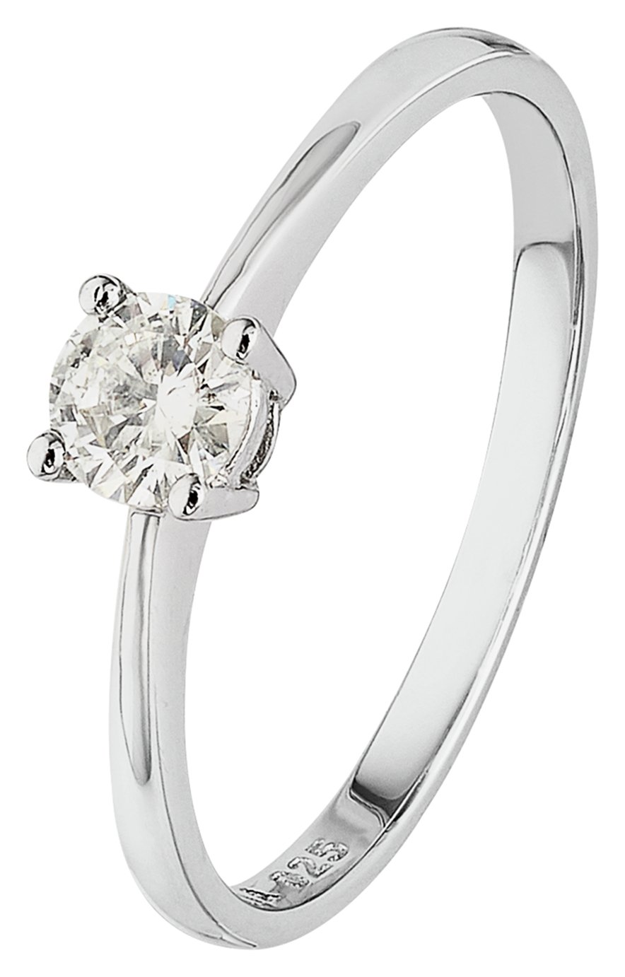 Revere 9ct White Gold 0.25ct Diamond Solitaire Ring - N