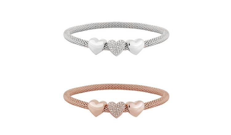 Lipsy Heart Mesh Bracelets - Pack of 2