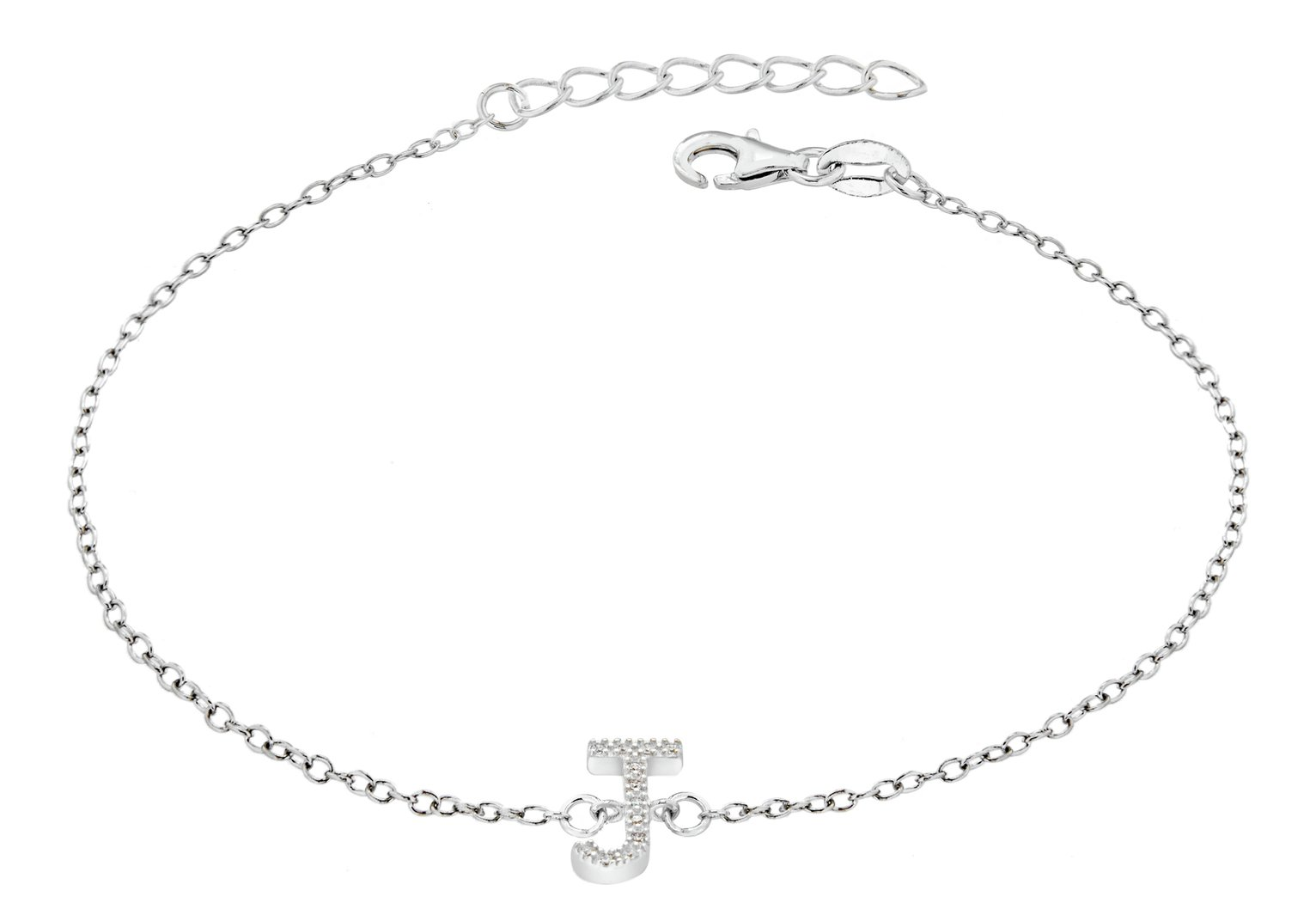 Sterling Silver Cubic Zirconia Initial Bracelet - J