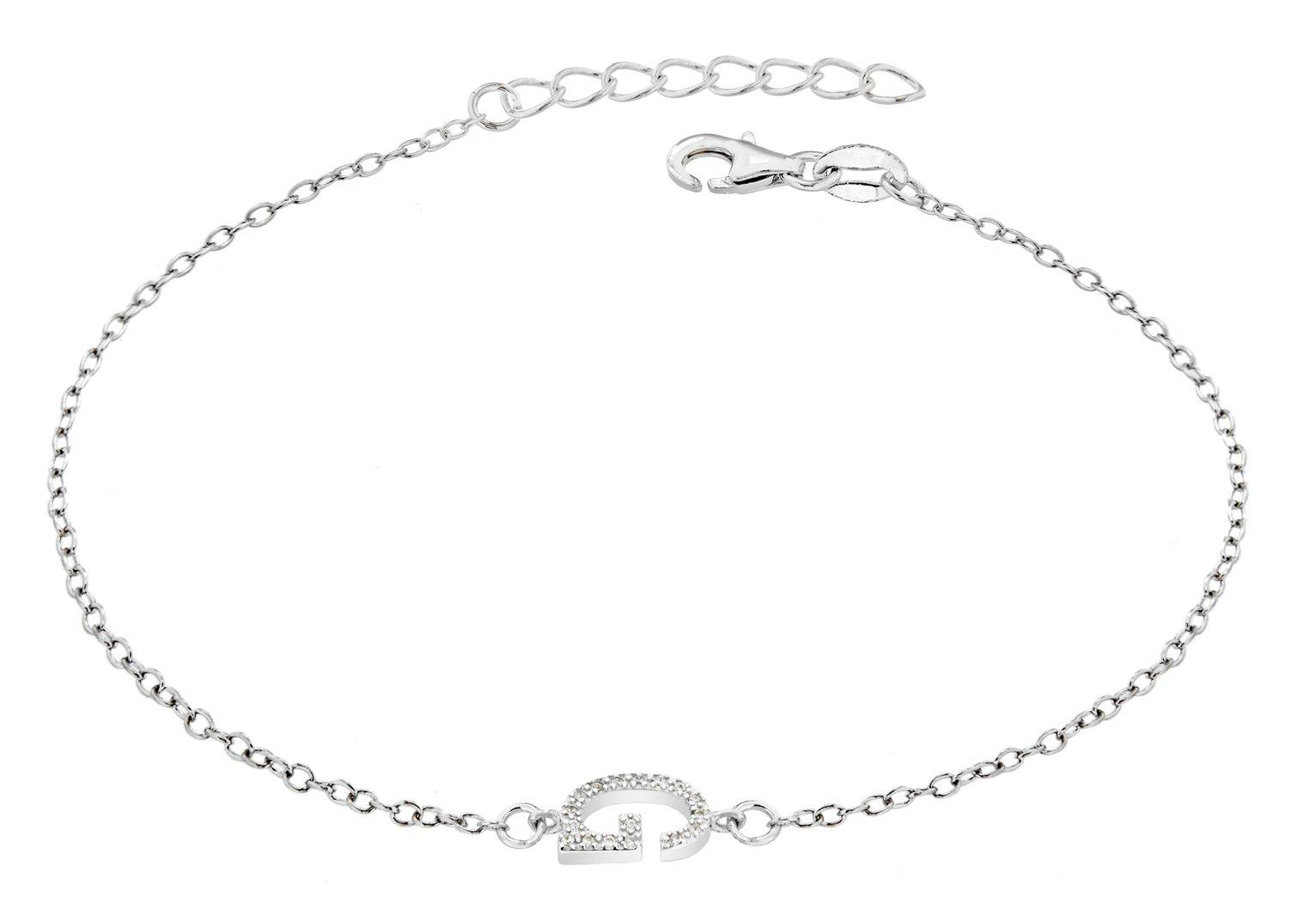 Sterling Silver Cubic Zirconia Initial Bracelet - G