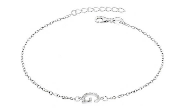 Sterling Silver Cubic Zirconia Initial Bracelet - G