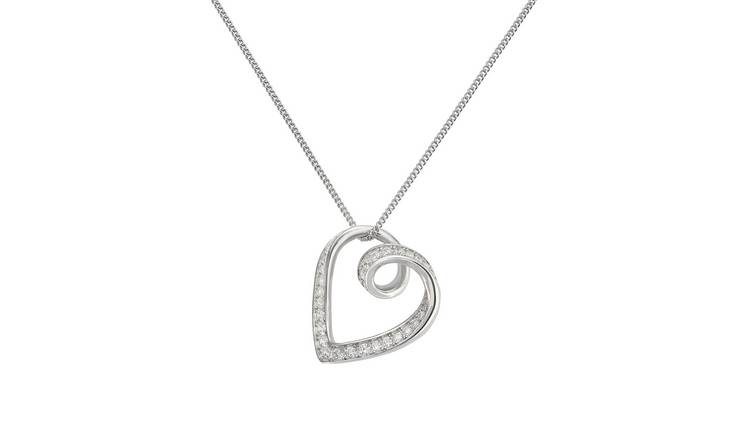 Revere Sterling Silver Twist Heart Pendant 18 Inch Necklace