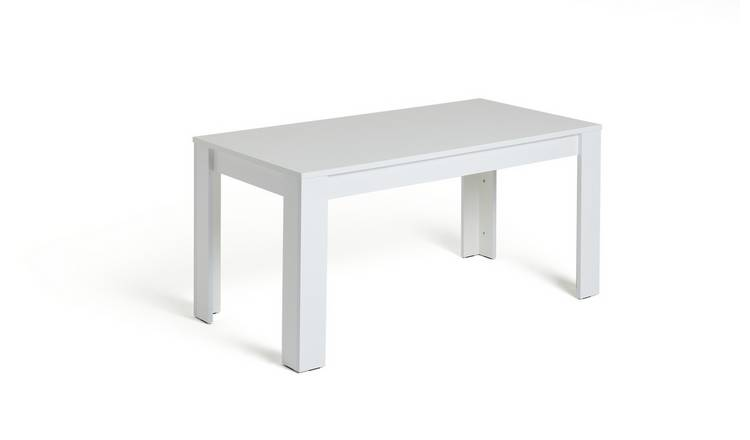 Habitat Miami Gloss Extending 8 Seater Dining Table-White