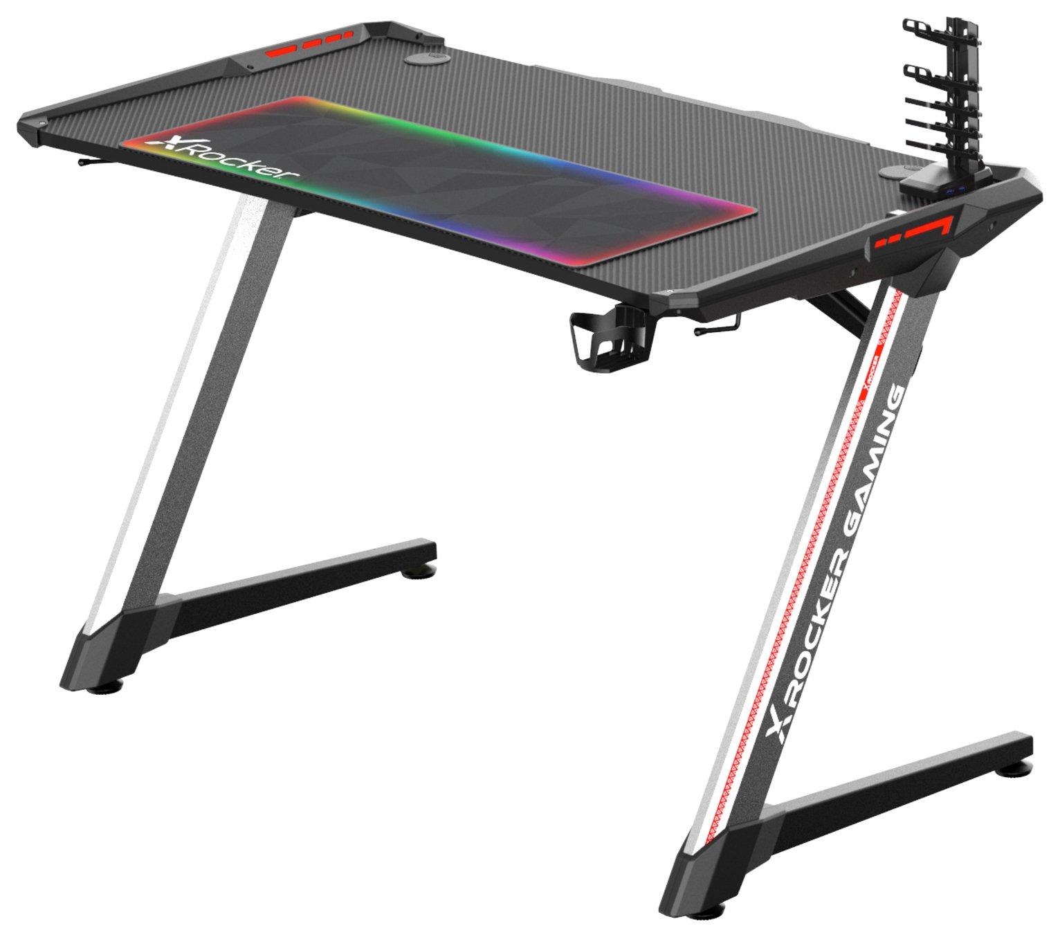 X Rocker Lynx Full Colour LED Gaming Desk - Black & Silver