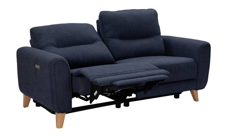 Habitat Tommy 3 Seater Fabric Recliner Sofa - Navy