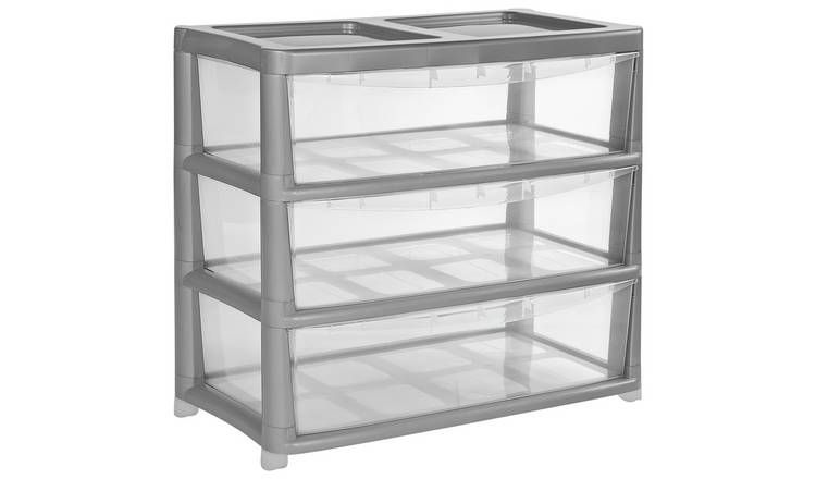 Argos Home 3 Drawer Gloss Wide Tower Storage Unit - Silver