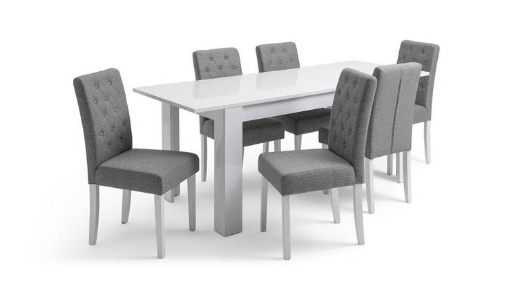Habitat Miami Extending Table & 6 Button Chairs - Grey