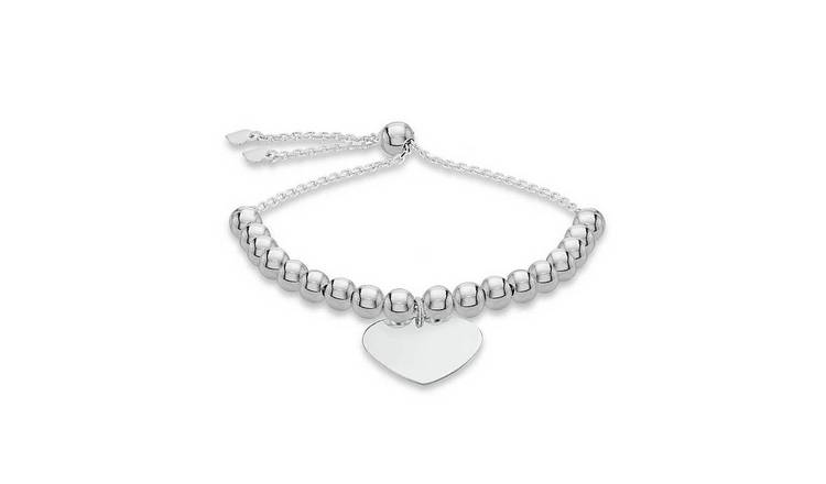 Sterling Silver Personalised Heart Beaded Bracelet