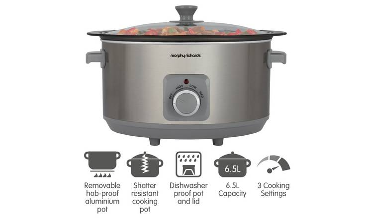 Buy Morphy Richards 6 5l Sear Stew Slow Cooker S Steel Slow Cookers Argos It can handle most slow cooker recipes and the pot can be used on the hob to sear meats, which will save on the washing up! buy morphy richards 6 5l sear stew slow cooker s steel slow cookers argos