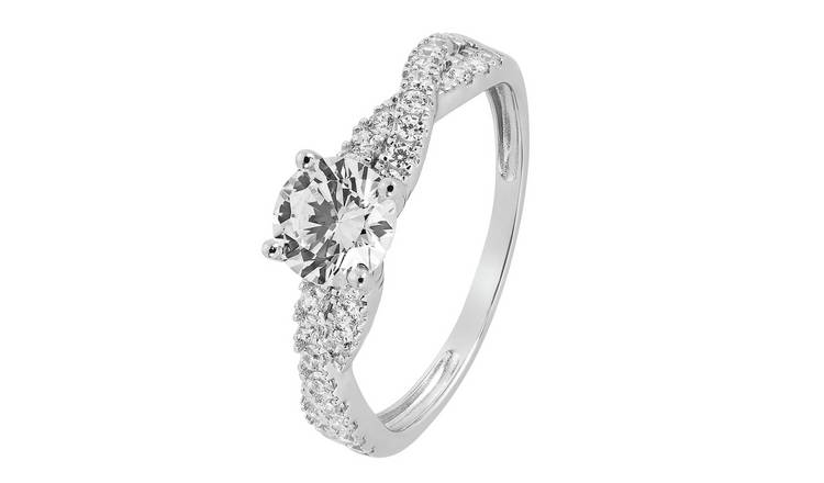 Revere 9ct White Gold Cubic Zirconia Twist Shoulder Ring - J