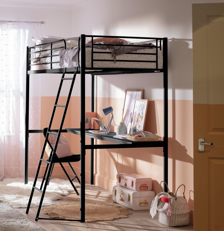 'Home Metal High Sleeper Bed Frame With Desk - Black