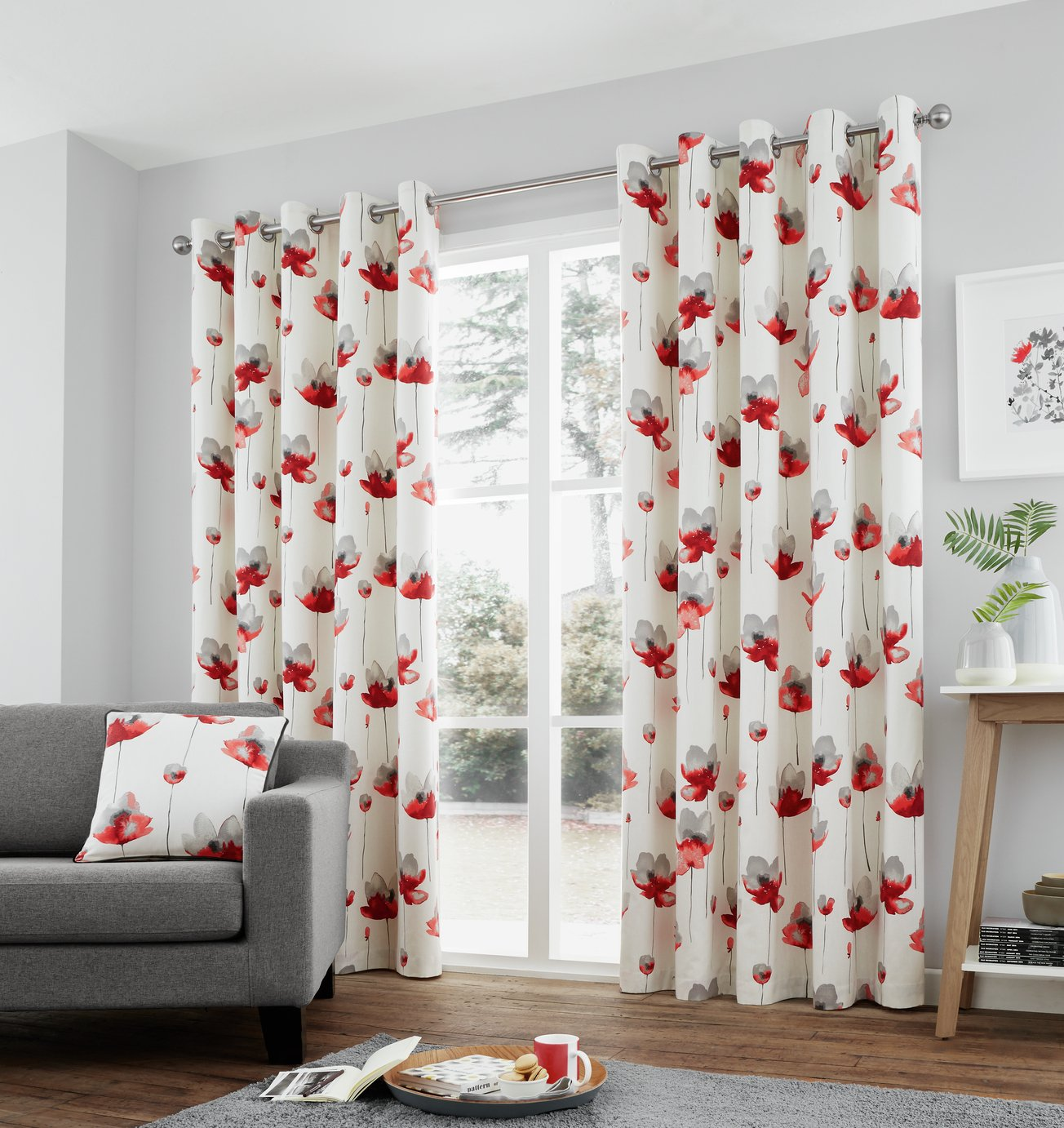 Fusion Kiera Lined Curtains - 168x183cm - Red