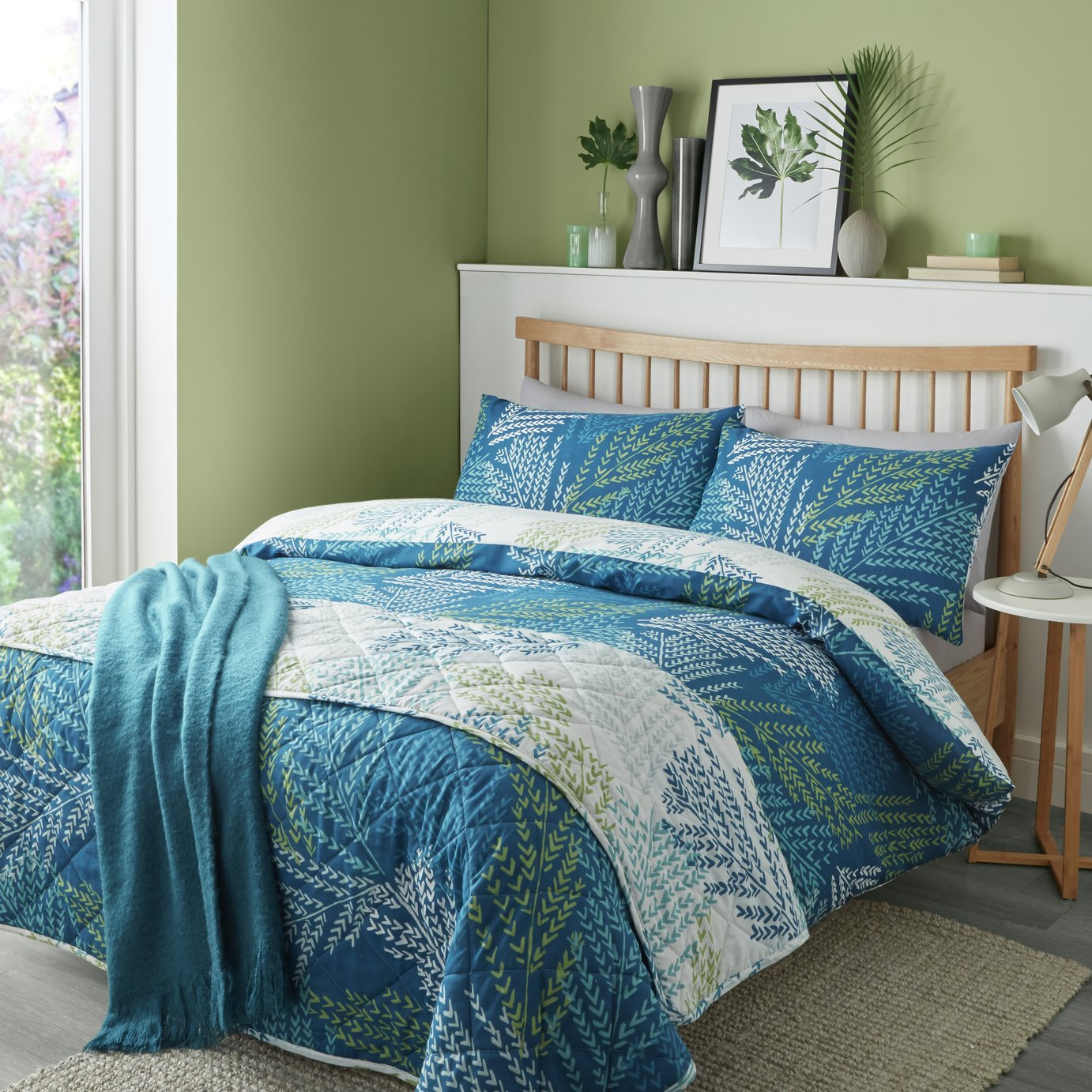 Image of Fusion Alena Teal Bedding Set - Kingsize