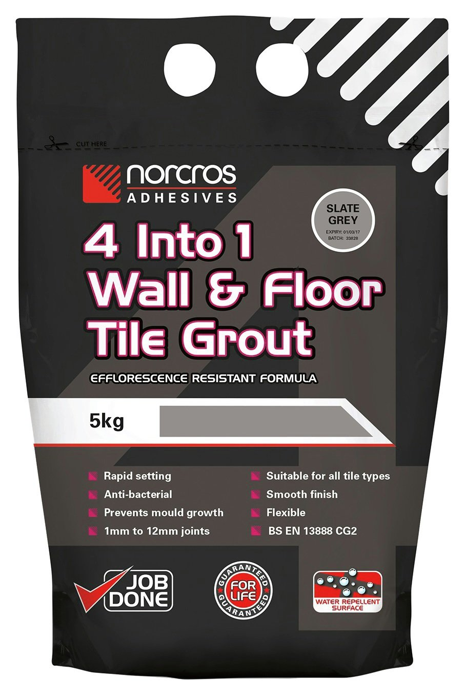 Norcros 4 in 1 Slate Grey Tile Grout - 5kg