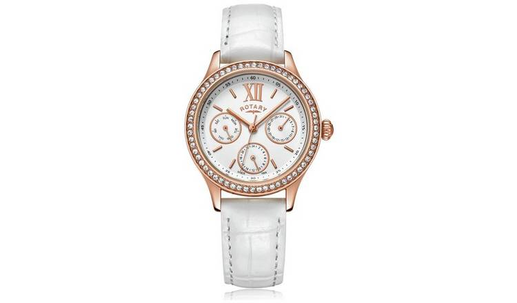 Rotary Ladies White leather Strap Watch