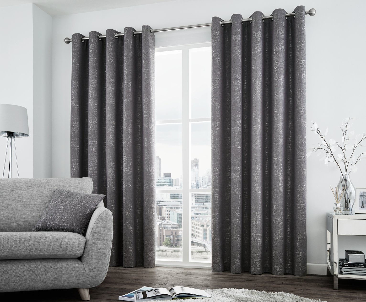 Curtina Solent Lined Curtains - 168x229cm - Graphite