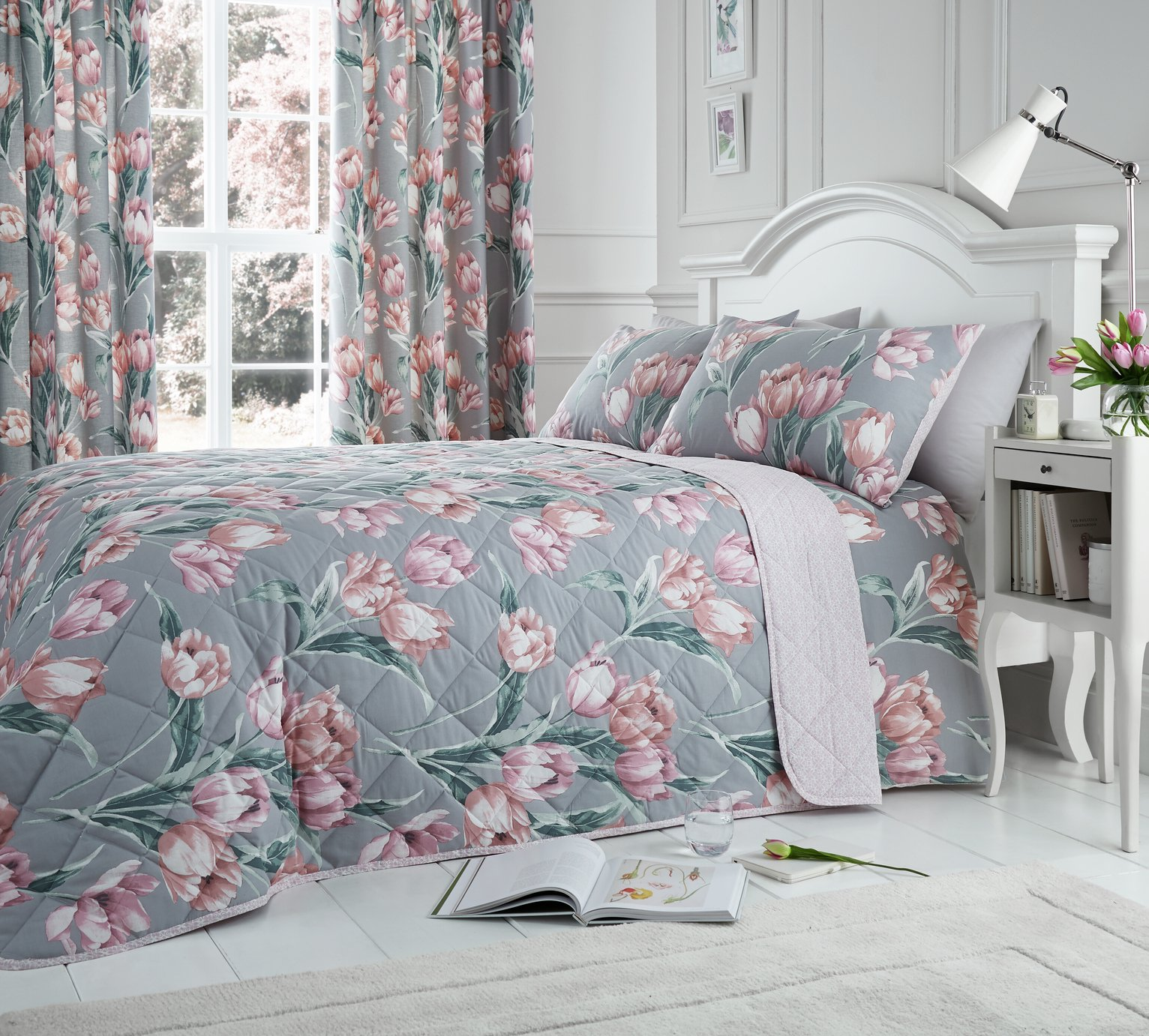 Dreams N Drapes Tulip Blush Bedding Set - Double
