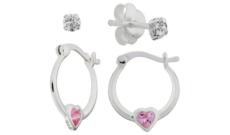 4dbcf2e74 Buy Revere Kid's Silver Pink CZ Creole and Stud Earring Set | Kids ...