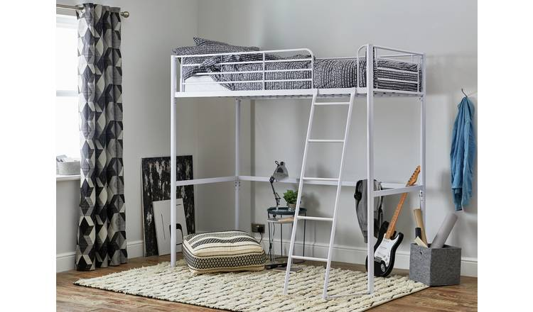 Argos Home Riley High Sleeper Metal Bed Frame - White