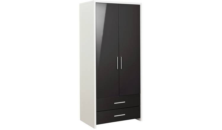 Habitat Broadway 2 Dr 2 Drw Wardrobe - Blk Gloss & White
