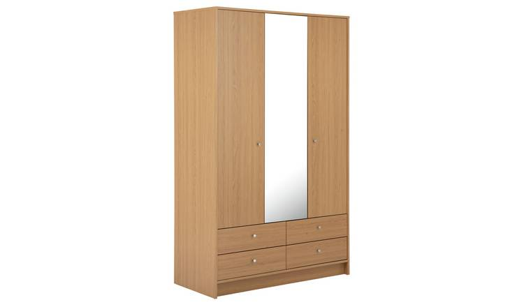 Habitat Malibu 3 Dr 4 Drawer Mirror Wardrobe - Oak Effect