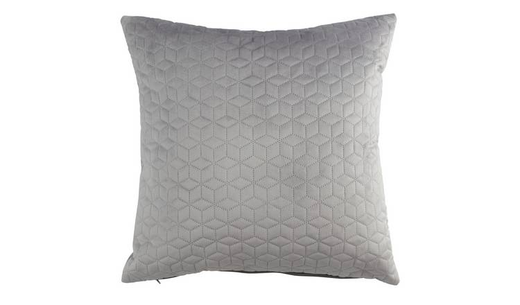 Argos Home Velvet Pinsonic Cushion - Smoke Grey