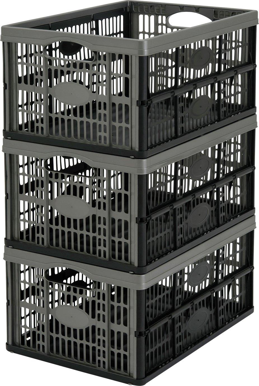 Argos Home 32 Litre Plastic Folding Storage Crates- Set of 3