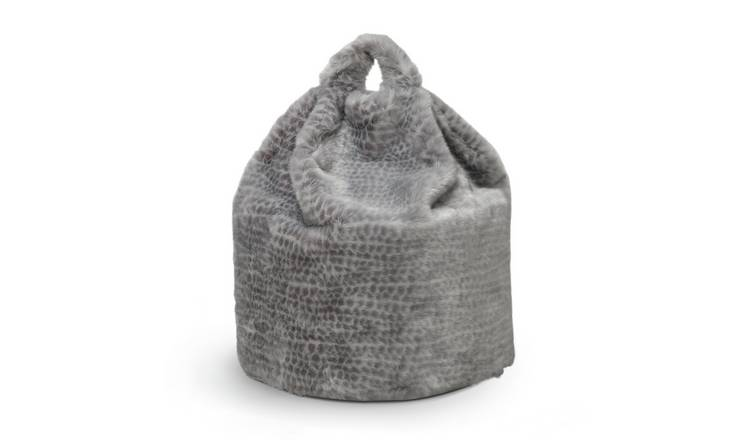Habitat Faux Fur Bean Bag - Snow Leopard Print