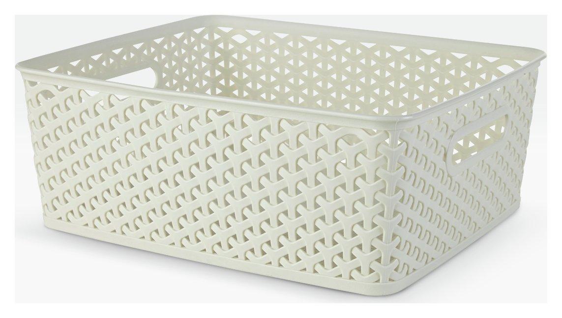 Argos Home Set of 3 Rattan My Style Storage Boxes - White