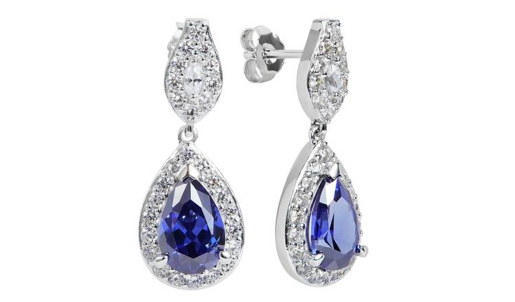 Revere Sterling Silver Cubic Zirconia Pear Halo Earrings