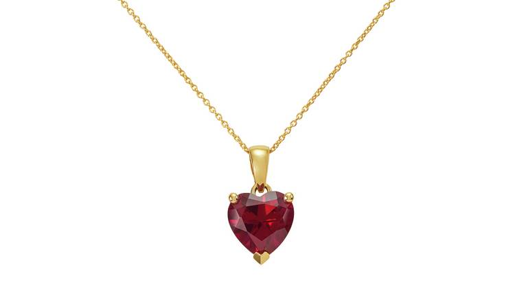 Revere 9ct Gold Created Ruby Heart Pendant 18 Inch Necklace