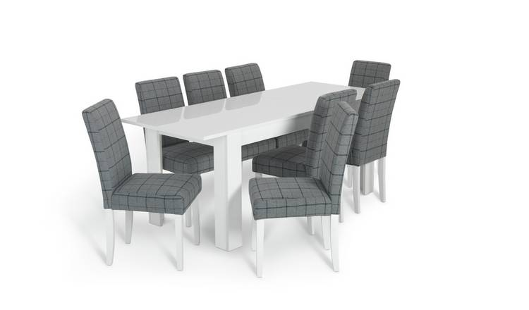 Buy Argos Home Miami White Gloss Extending Table 8 Chair Blue Dining Table And Chair Sets Argos