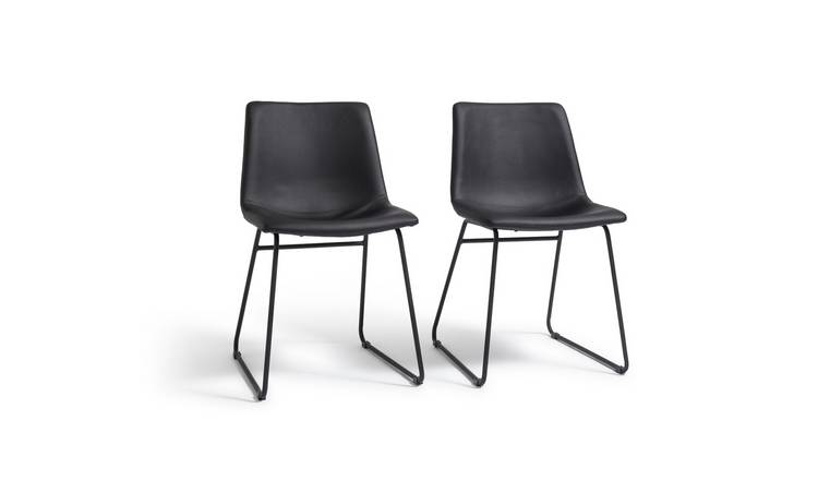 Habitat Joey Pair of Faux Leather Dining Chairs - Black