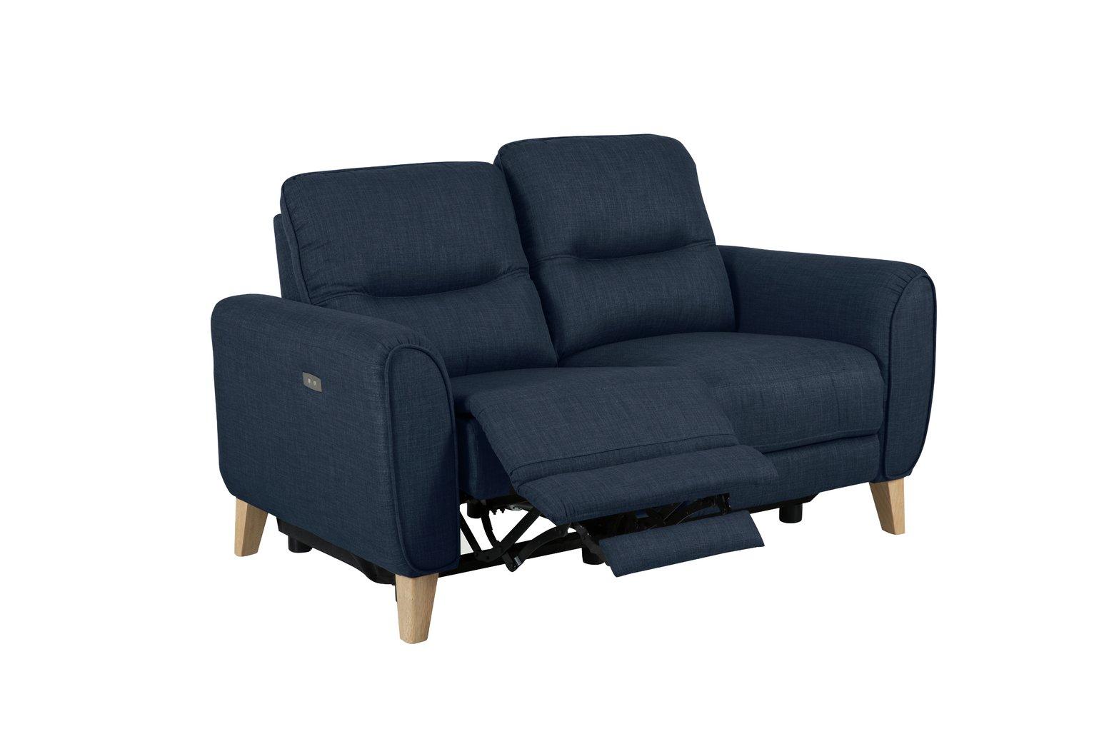 Habitat Tommy 2 Seater Fabric Recliner Sofa - Navy