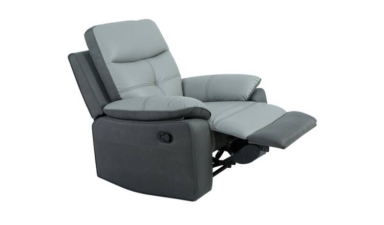 Argos Home Charles Leather Mix Manual Recliner Chair - Grey