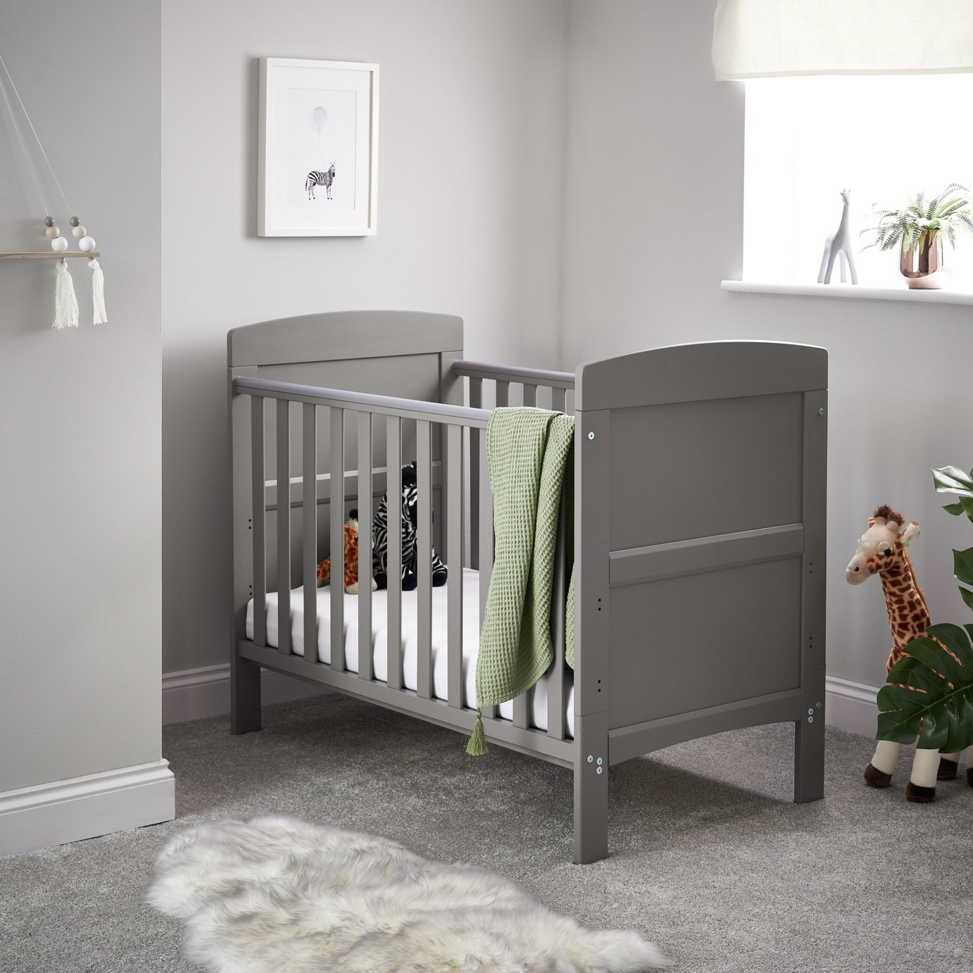 Obaby Grace Mini Baby Cot Bed - Taupe Grey