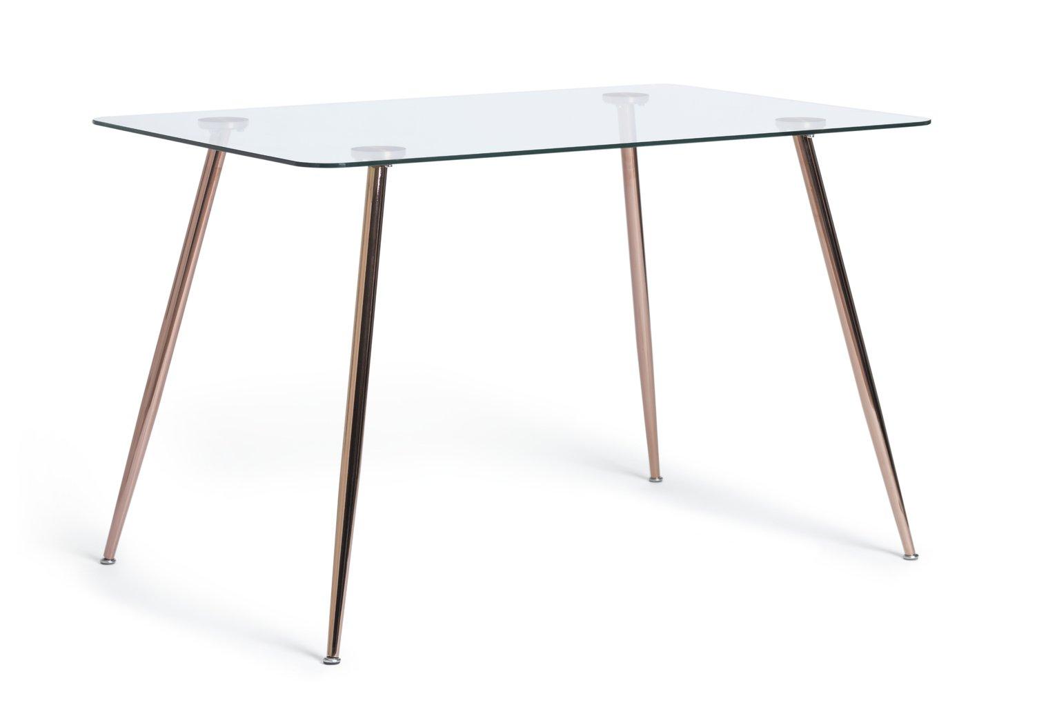 Habitat Beni Glass 6 Seater Dining Table - Rose Gold