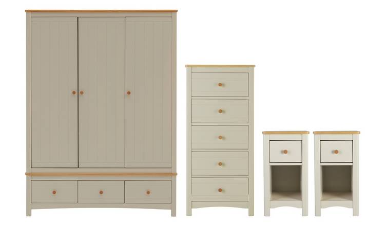 Argos Home Bournemouth 4 Piece 3 Dr Wardrobe Set -Light Grey