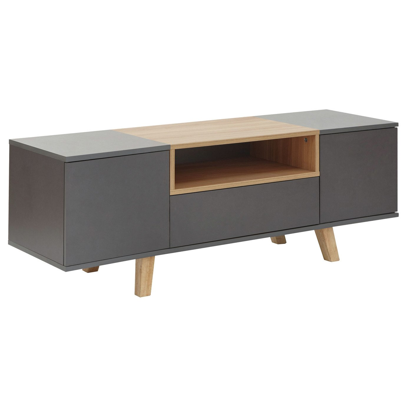 Modena 2 Door 1 Drawer TV Unit - Grey