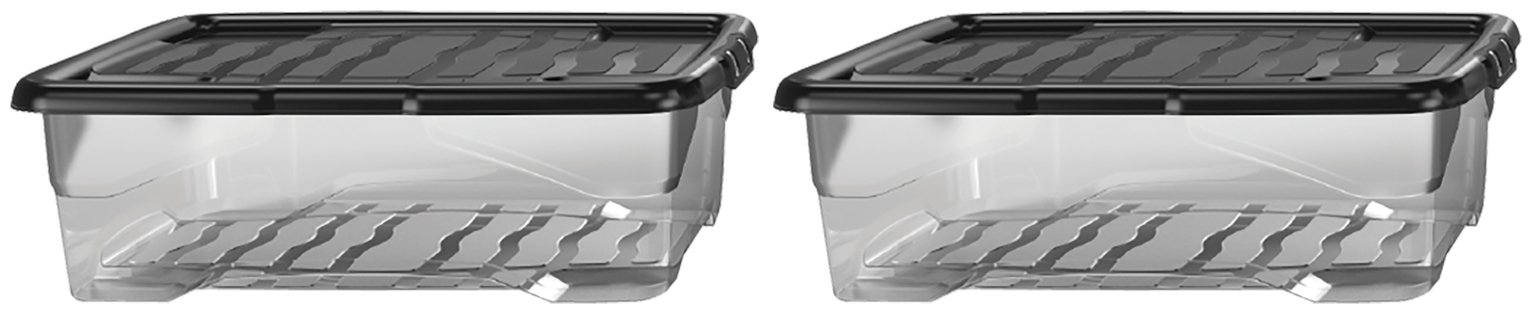 Strata 30 Litre Curve Underbed Storage Boxes - Set of 2