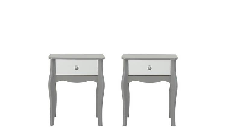 Argos Home Amelie 2 Mirrored Bedside Tables Set - Grey