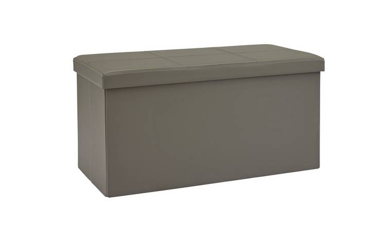 Argos Home Large Faux Leather Stitched Ottoman - Grey