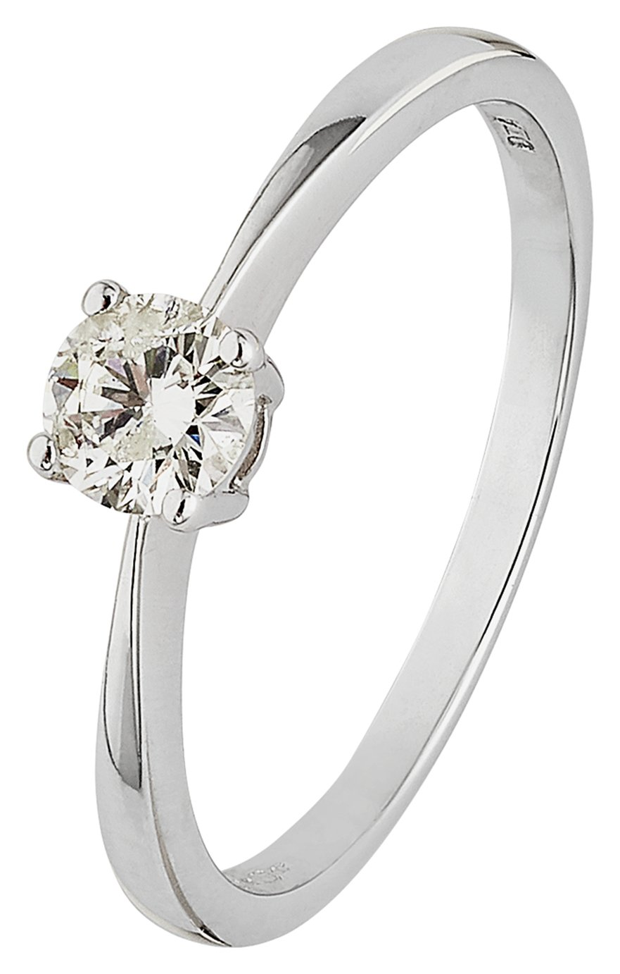 Revere 9ct White Gold 0.33ct Diamond Solitaire Ring - Size N