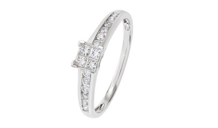 Revere 9ct White Gold Diamond Shoulder Ring - J