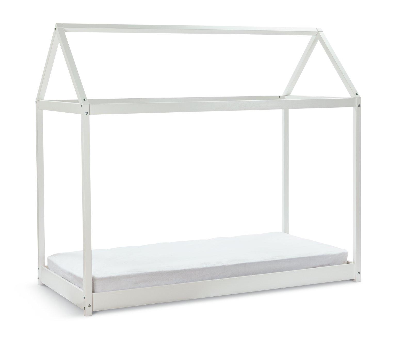 Habitat House Single Bed Frame and Kids Mattress - White