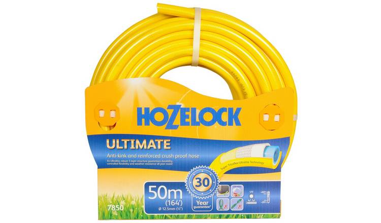 Hozelock 50m Ultimate Hose Anti-Kink Crush Proof Hose Pipe Tricoflex Technology