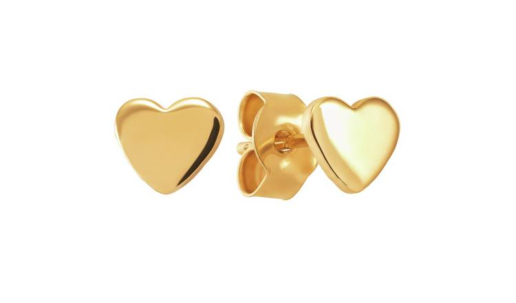 Revere 9ct Gold Plated Sterling Silver Heart Stud Earrings