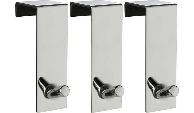 Argos Home Set of 3 Chunky Over Door Coat Hooks - Chrome