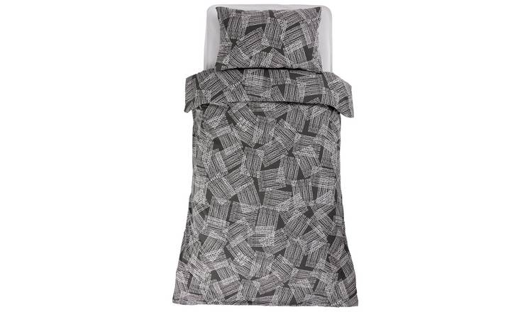 Argos Home Grey Grid Print Bedding Set - Single